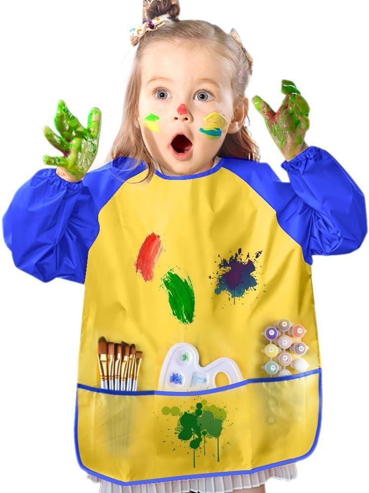 peintures et pinceaux Non Inclus Age 3-8 Ans Parabo Tablier de Jeu Etanche des Enfants Patisserie nourrissage Peinture des Gamins et des Bambins Blouse dart avec 3 Poches spacieuses