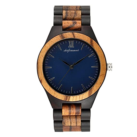 Cebbay Reloj de madera ecológico de color claro para hombre Reloj de madera de estilo ocioso Reloj de madera de sándalo negro (A): Amazon.es: Relojes