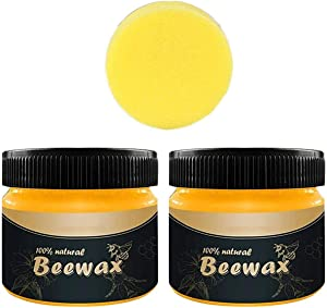 2PCS Beeswax Furniture Polish,Wood Seasoning Beewax- Traditional Beeswax Polish for Wood&Furniture,All-Purpose Beewax for Wood Cleaner and Polish Wipes - Non Toxic for Furniture to Beautify & Protect