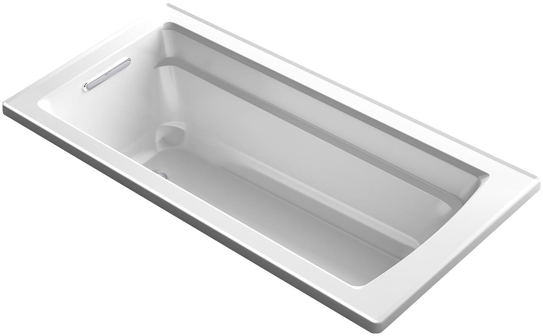 KOHLER K-1948-0 Archer ExoCrylic 66-Inch x 32-Inch Drop-In Bath with Reversible Drain, White