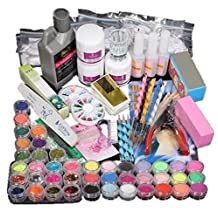Coromose 21 in 1 Professional Acrylic Glitter Color Powder French Nail Art Deco Tips Set