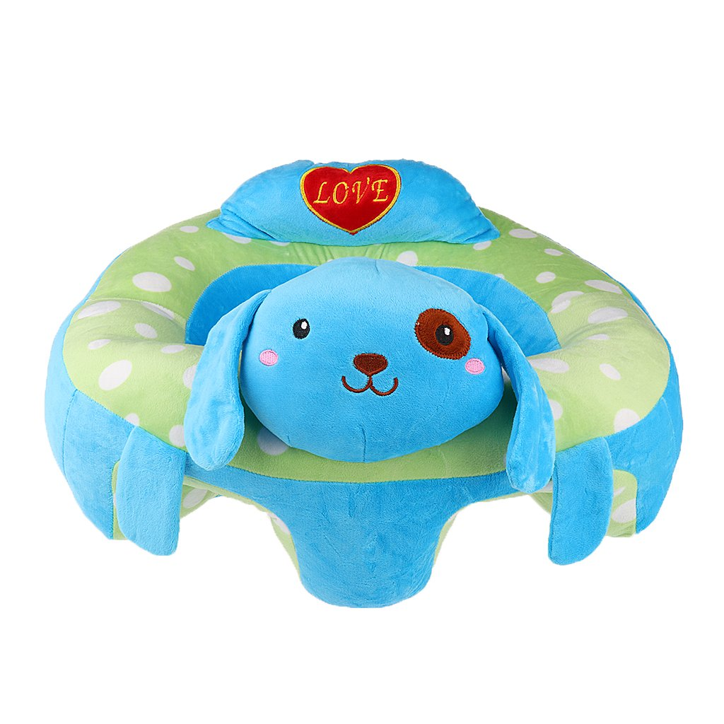 Prettyia Baby Support Seat Plush Soft Baby Sofa Infant Baby Learning To Sit Chair - Green Frog, as described