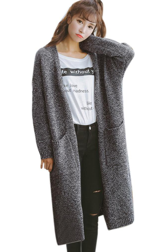 OutTop Women's Fashion Knitted Sweater Cardigan Long Sleeve Coat Casual Tops (Free Size, Dark Gray)