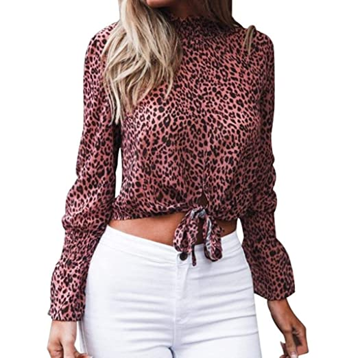 5e69d9d2ef939a Amazon.com: freedomer Womens Loose Chiffon Floral Leopard Print Long Flare  Sleeve Bow Shirts Blouse Crop: Clothing