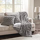 Comfort Spaces Faux Fur Throw Blanket Set – Fluffy Plush Blankets for Couch and Bed – Grey Size 50' x 60' with 2 Square Pillow Covers 20' x 20' by