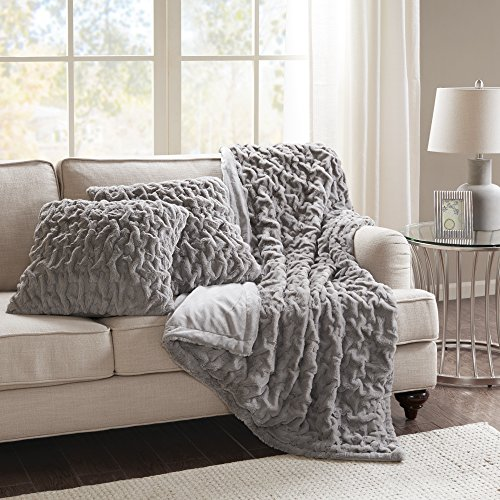 Comfort Spaces Faux Fur Throw Blanket Set – Fluffy Plush Blankets for Couch and Bed – Grey Size 50