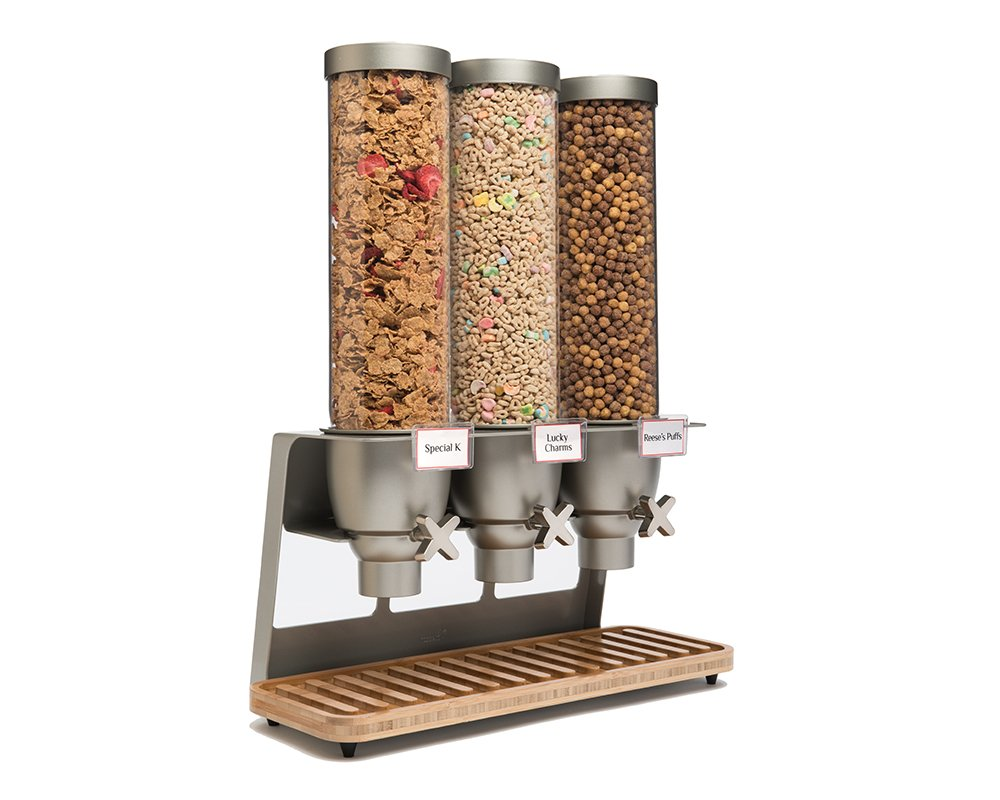 Rosseto EZ547 EZ-SERV Triple Container Table-Top Cereal Dispenser with Bamboo Tray, 3.9-Gallon Capacity, 9'' Length x 21'' Width x 26'' Height
