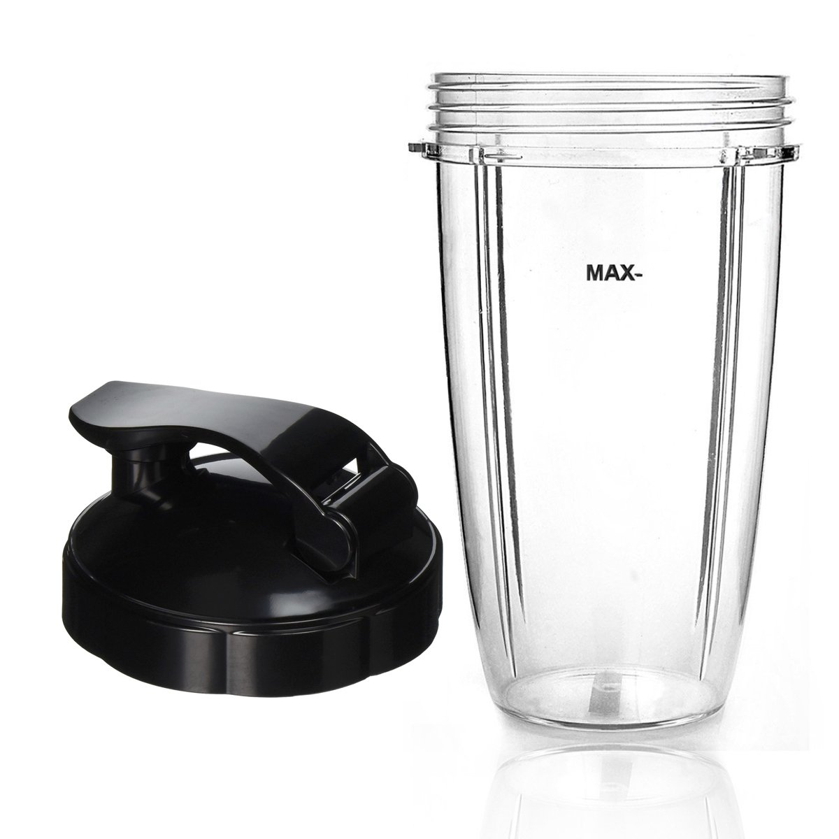 Cup and Flip Top Lid Compatible with NutriBullet Blender Replacement Accessory (Cups & Lid, 32 oz)