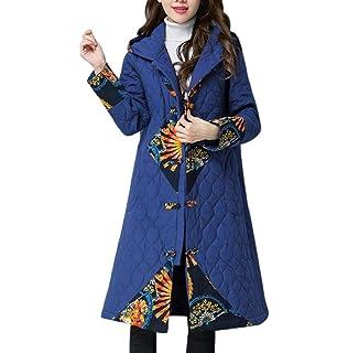 FNKDOR Manteau Femme d hiver Chaud Veste à Manches Longues en Lin de Coton  Blouson 3627de42636