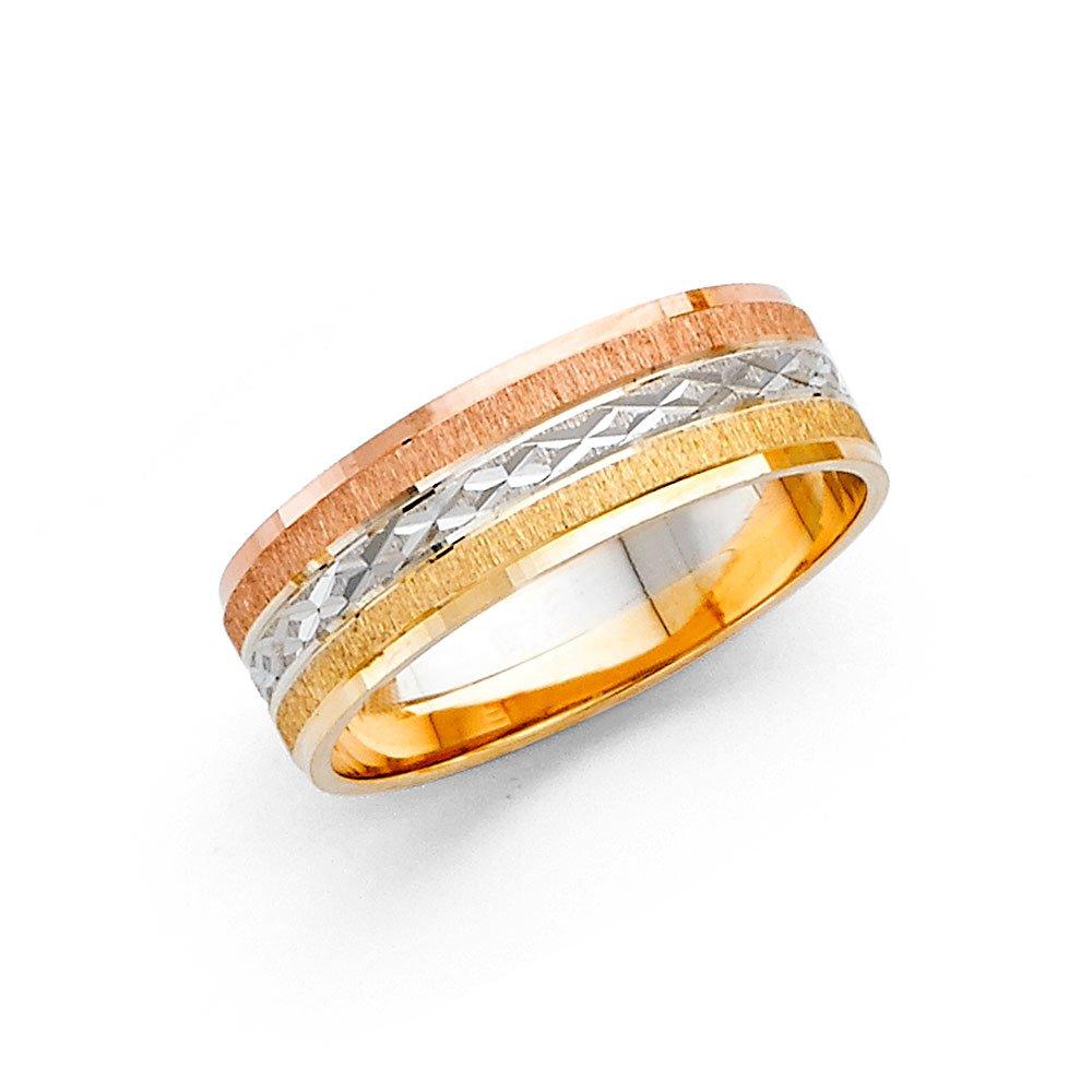 Ioka - 14K Tri Color Solid Gold 6mm Diamond Cut Women's Wedding Band - Size 5