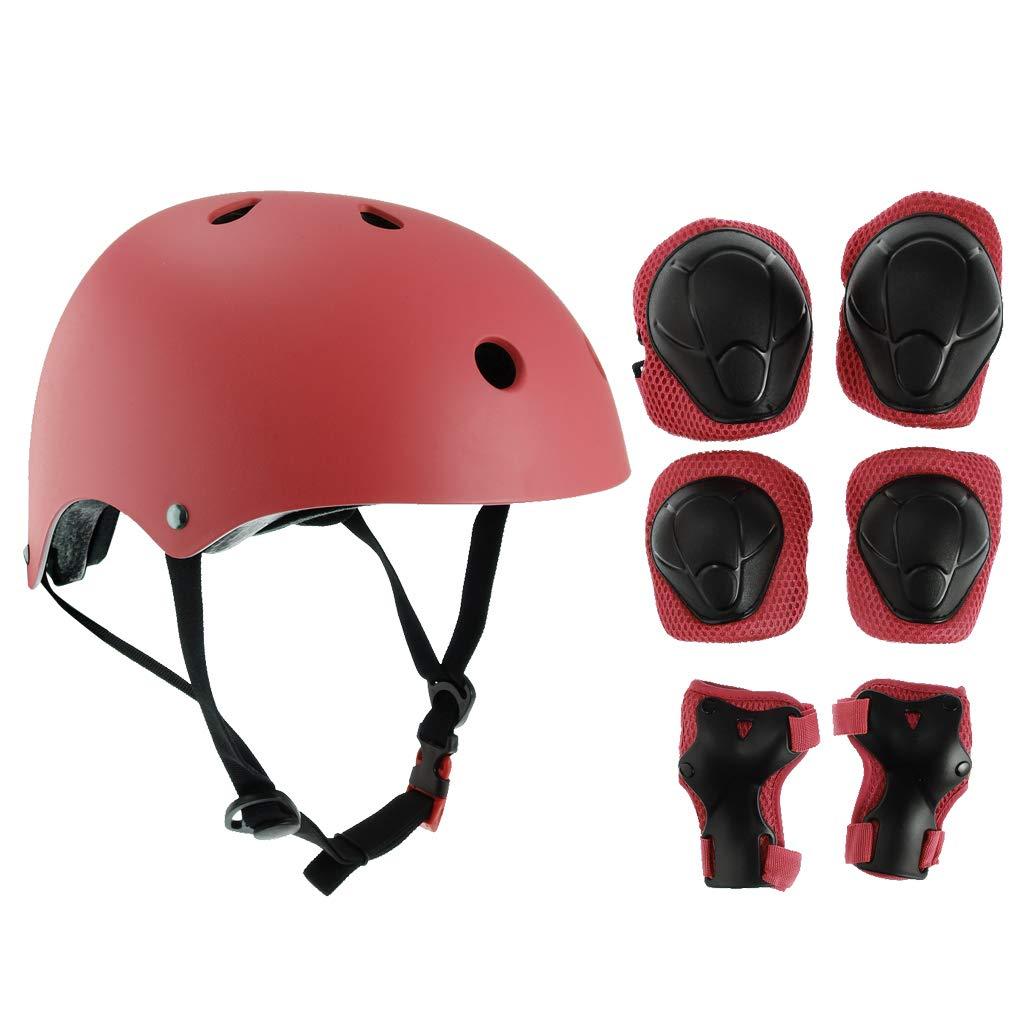 Prettyia 7Pcs/Set 4-11 Years Kids Skateboard Helmet Wrist Elbow Knee Pad for Multi Sports Cycling Skateboarding Scooter Roller Skate Inline Skating - Red