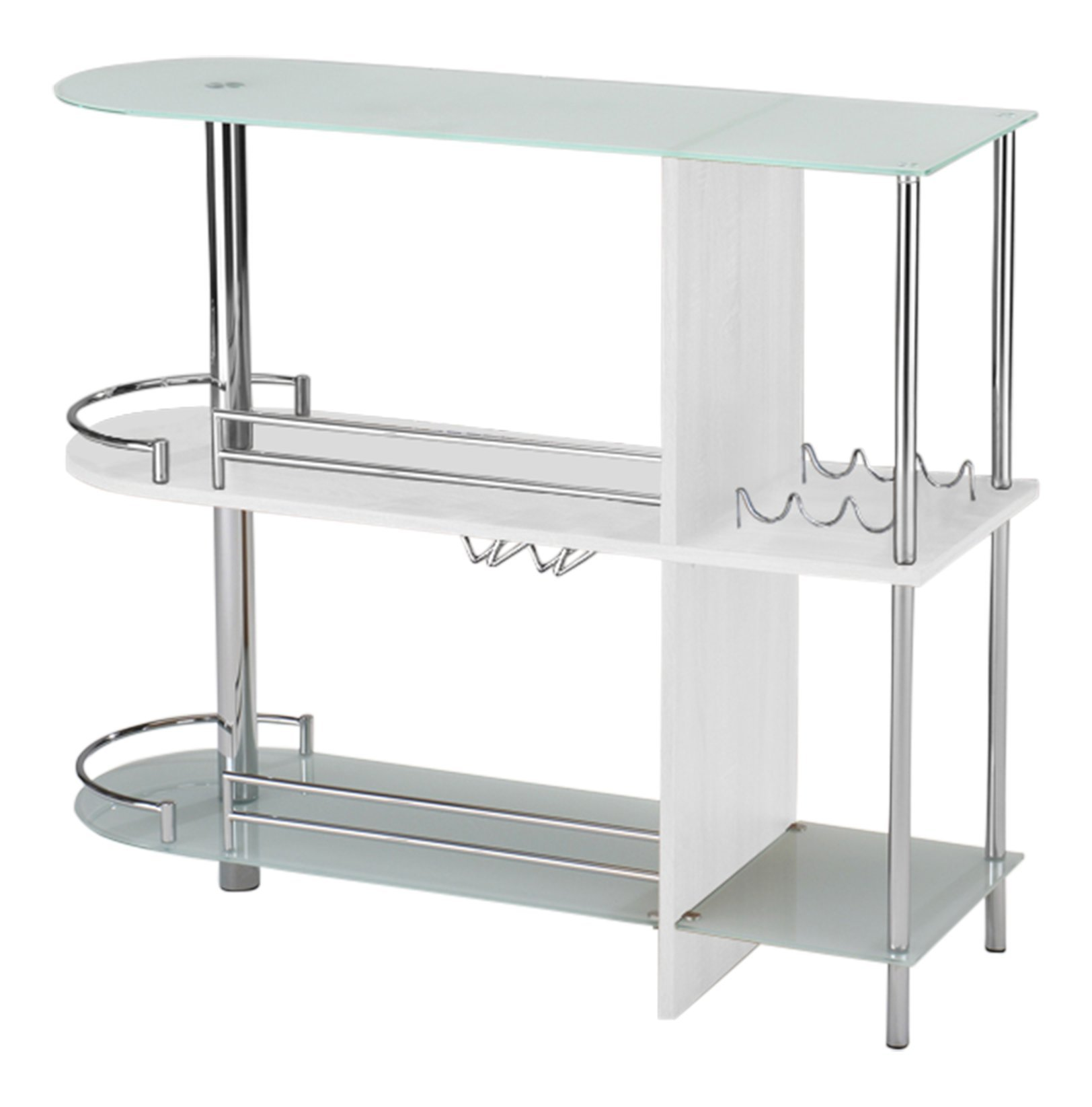 Kings Brand Furniture Bar Table with Two Tempered Glass Shelves, White by Kings Brand Furniture