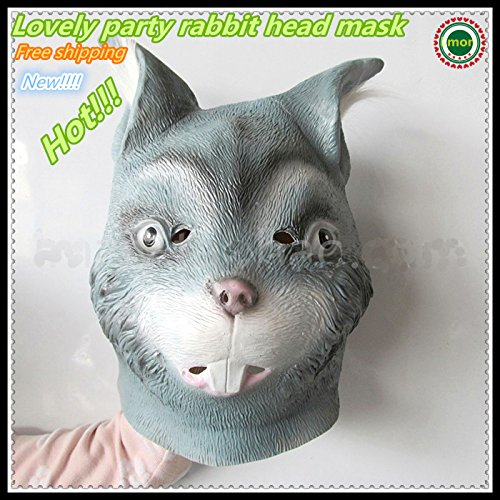2015 - Hot Sale New Party Animal Rabbit Head Mask Creepy Halloween Costume Theater Adult Gray Rabbit Face (Creepy Mask For Sale)