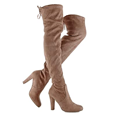 Womens Over The Knee Thigh High Block Mid Heel Boot - Heeled Pull On Comfortable Tall Almond Toe Boots | Over-the-Knee