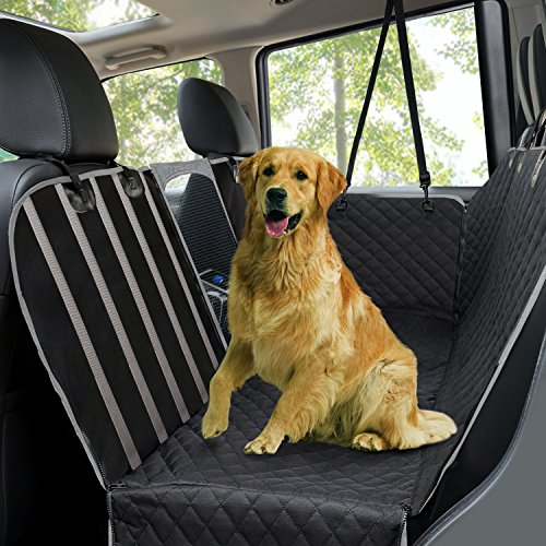 Dog Car Seat Covers,Waterproof Scratch Proof Pet Seat Covers Dog Seat Covers for Back Seat w/ Mesh Window/ Side Flaps,Convertible dog Hammock,Durable Soft Seat Protector for Cars Trucks & SUVs,Black