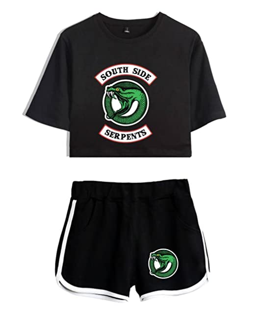 a13fcf074f1d3 ZIGJOY Riverdale Crop Top T-Shirts and Shorts Clothes Suit for Girls and  Women  Amazon.co.uk  Clothing