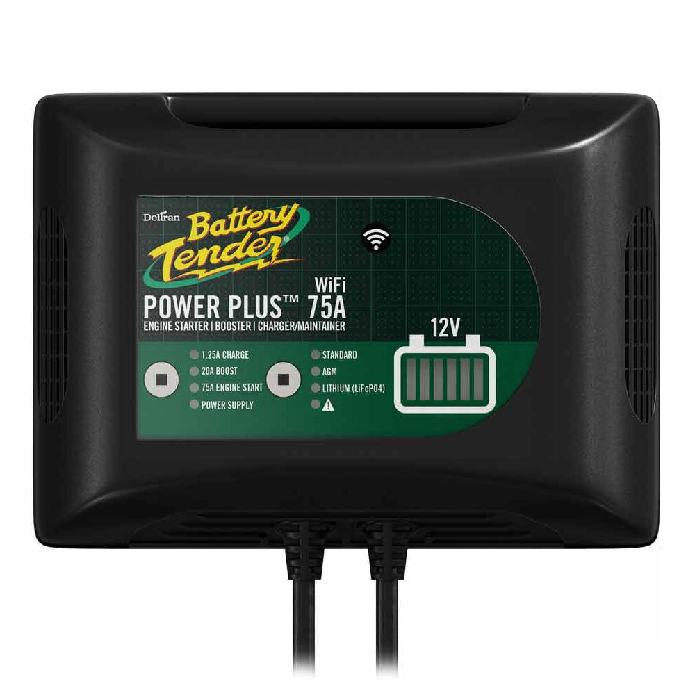 Power Plus 75Amp Battery Charger For Batteries Big & Small, 20Amp Battery Booster, 1.25 Amp Charger and Maintainer. Get Alerts with WiFi Capabilities