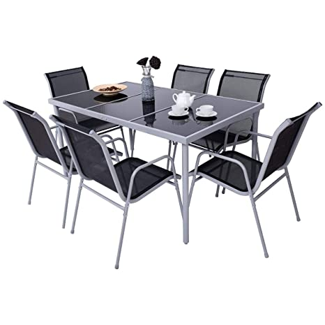 Review Giantex 7 Piece Patio Dining Set Outdoor Lawn Garden Living Furniture Metal Frame Tempered Glasstop Cool Textilene Fabric Chairs Bistro Patio Dining Table Sets, Black