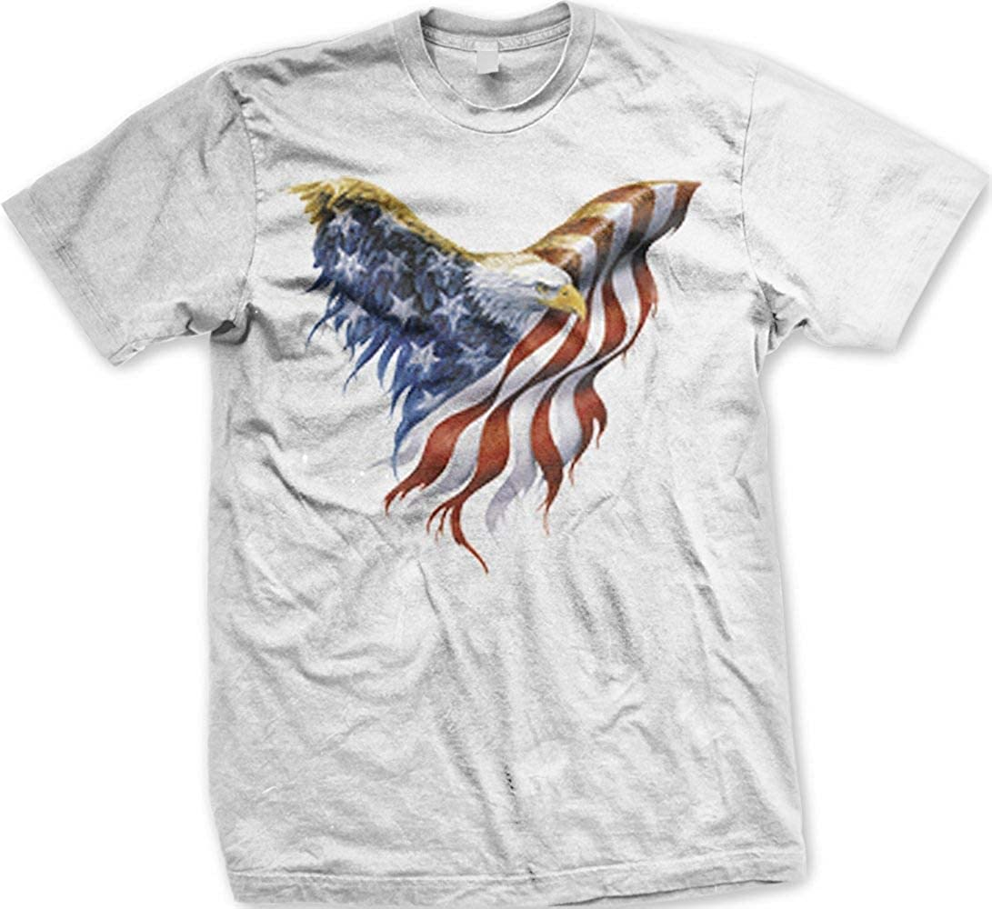 American Flag Bald Eagle U.S. Pride T-Shirt, XXX-Large, White ...