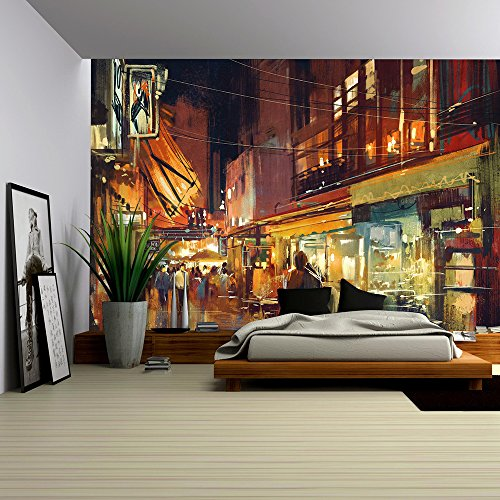 wall26 - Digital Painting of People Walking in the Market at Night - Removable Wall Mural | Self-adhesive Large Wallpaper - 66x96 inches - Business People Walking