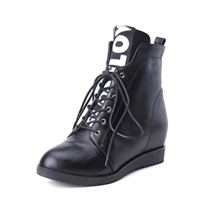 Womens Lace-Up Pointed-Toe Solid Urethane Boots