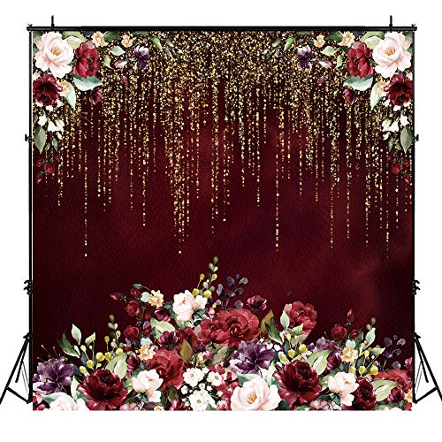 Riyidecor 6x6ft Burgundy Red Flower Backdrop Floral Golden Valentine's Day Party Photography Background Bridal Wedding Engagement Anniversary Decorations Banner Festival Studio Photo Shoot Vinyl Cloth
