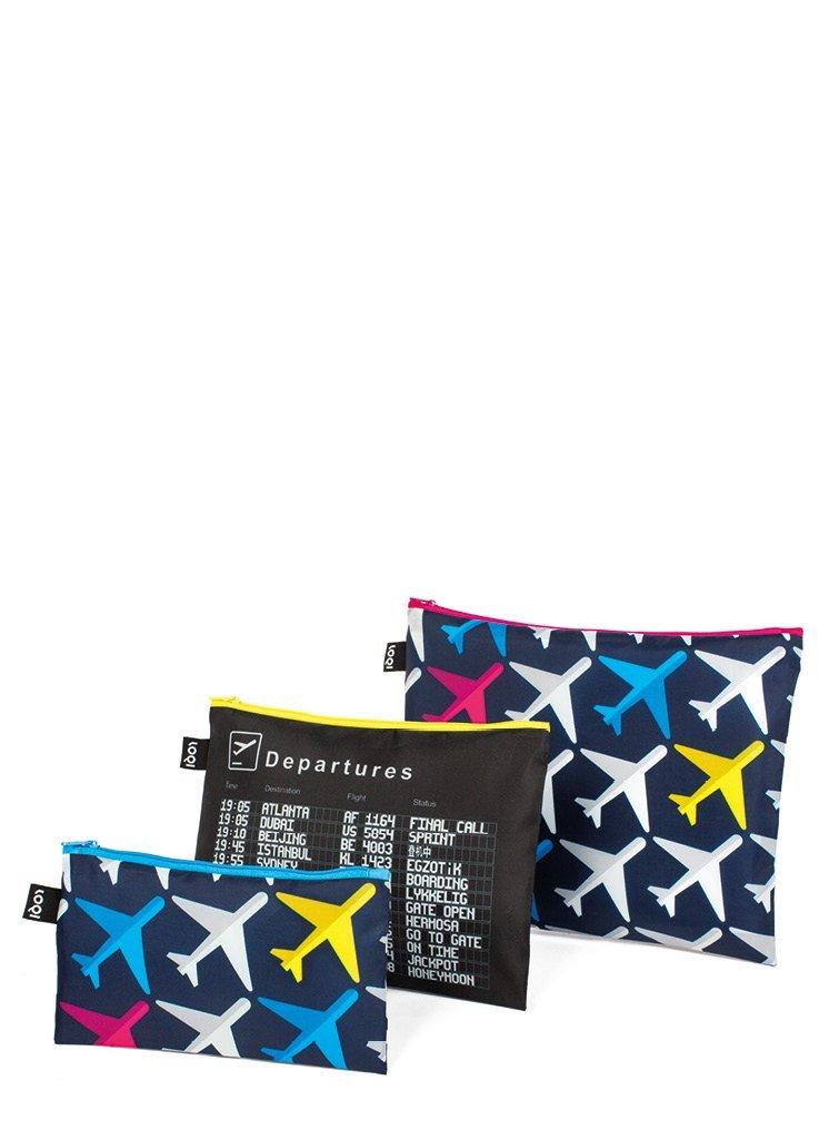 LOQI  AIRPORT Airplane Zip Pockets Pochette /à fermeture /éclair
