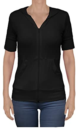 Ooh La La Women's Short Sleeve Front Zip Hoodie Sweater Jacket ...