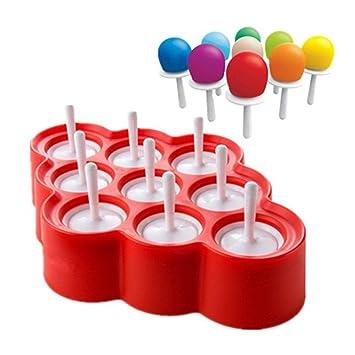 Moldes para helado Leegoal, moldes de silicona, moldes para hacer pájaros y helados con 9 palos para bebés y niños rosso: Amazon.es: Hogar