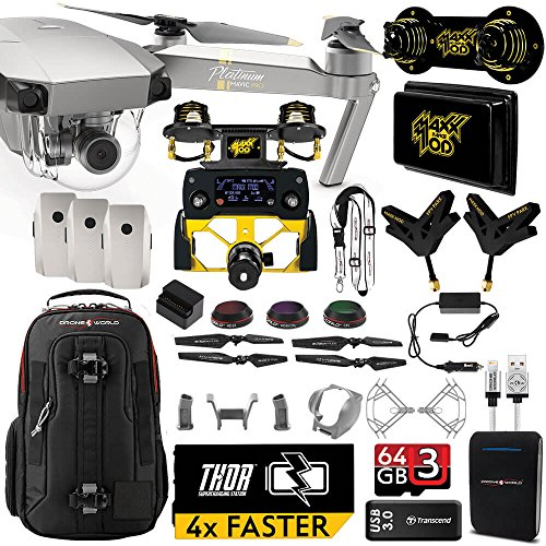 DJI Mavic PRO Platinum MaXX Mod Long Range Kit w/ Backpack, Custom Bracket + Mount, Sunshade, 3 Batteries + Thor Charger, Lens Filters & - Platinum Review Lens Filter