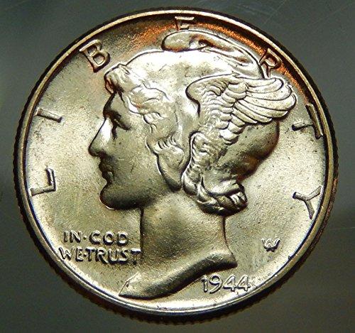 - 1944 Gem Brilliant Uncirculated Silver Mercury Dime Choice BU