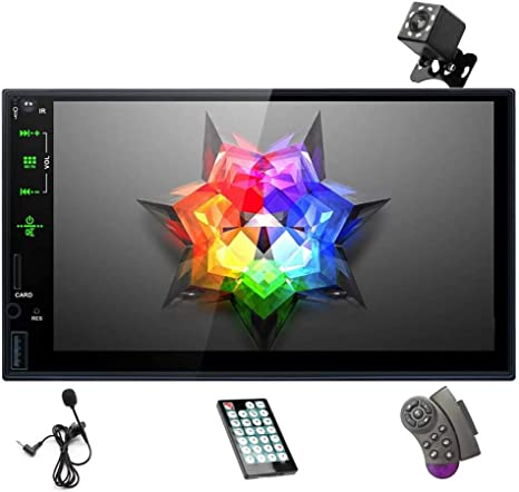 Mirror Link Car MP5 Multimedia Player Wendry Double Din Car Stereo Bluetooth 4.0 Car Audio Video Player FM USB//TF//AUX 7 HD Touch Screen Indash Car Radio