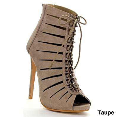 Bella Marie VANESA-15 Women Sexy High Stiletto Heel Cut Out Lace Up Cage  Bootie 2857e5885