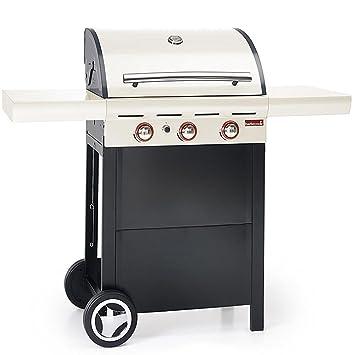 Bakaji barbacoa a gas 3 quemadores Spring 300 con ruedas Tapa y termómetro color crema Barbecook