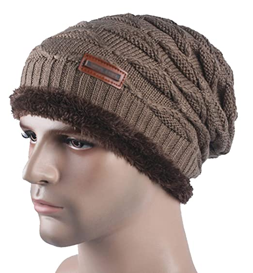 Spikerking New Mens Knitted Hats Classic Plush Lining Winter Thick Beanie  Hat Skull Cap a72ab4208fc1