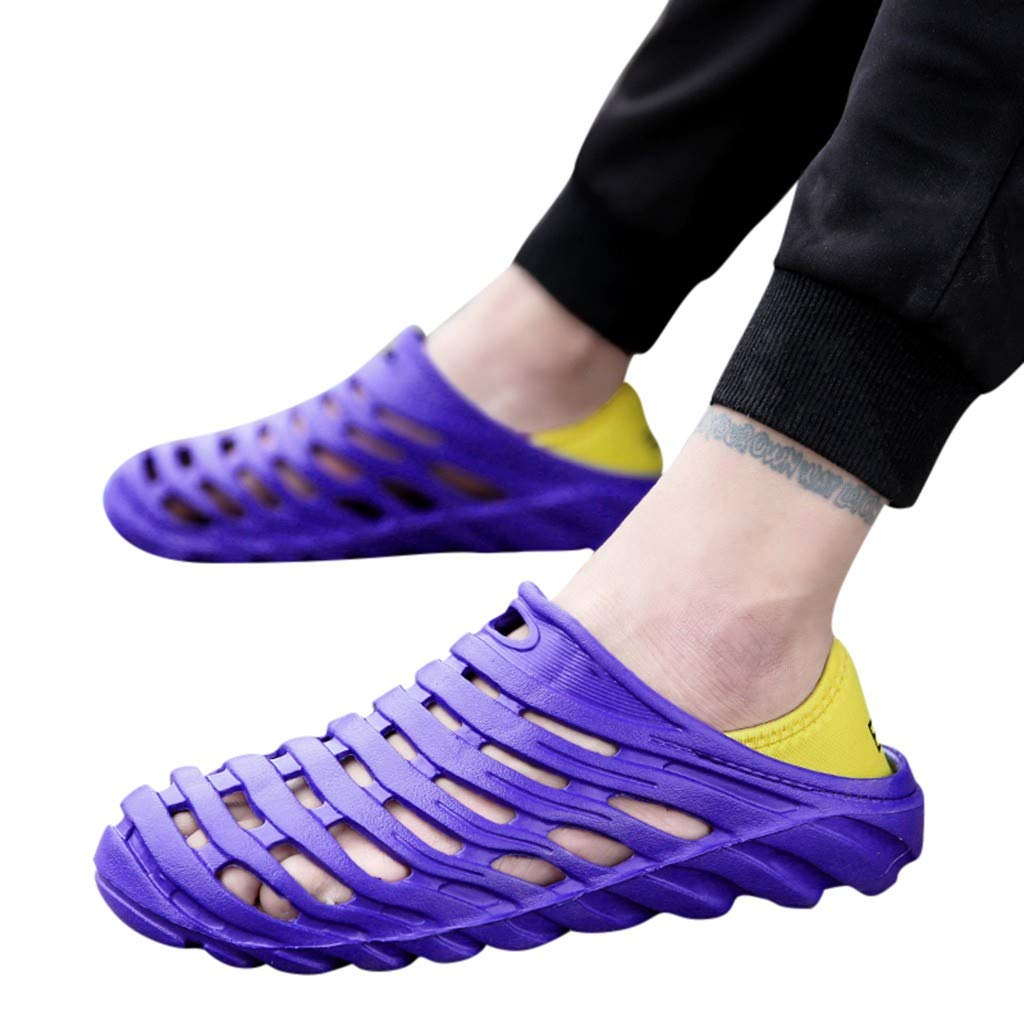 2019 New Men's Plus Size Waterproof Beach Sandals Elastic Heel Leisure Hollowed Outdoor Casual Beach Shoes7.5-10M (Blue, 9 M US)