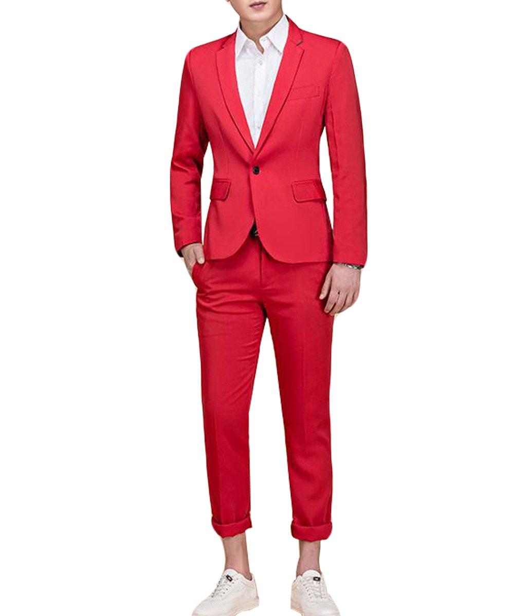 Men's Suit Single-Breasted One Button Center Vent 2 Pieces Slim Fit Formal Suits MCXZ01