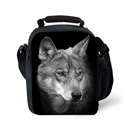 8e7b45ab8bea Insulated Children Reusable Lunch Bags For Food Children 3D Wolf Lunch Tote  Box With Shoulder Adjustable Strap