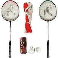 HIPKOO SPORTS Toofani Wide Body Badminton Set (2 Rackets, 3 Feather Shuttles and Net, Bag Inside)