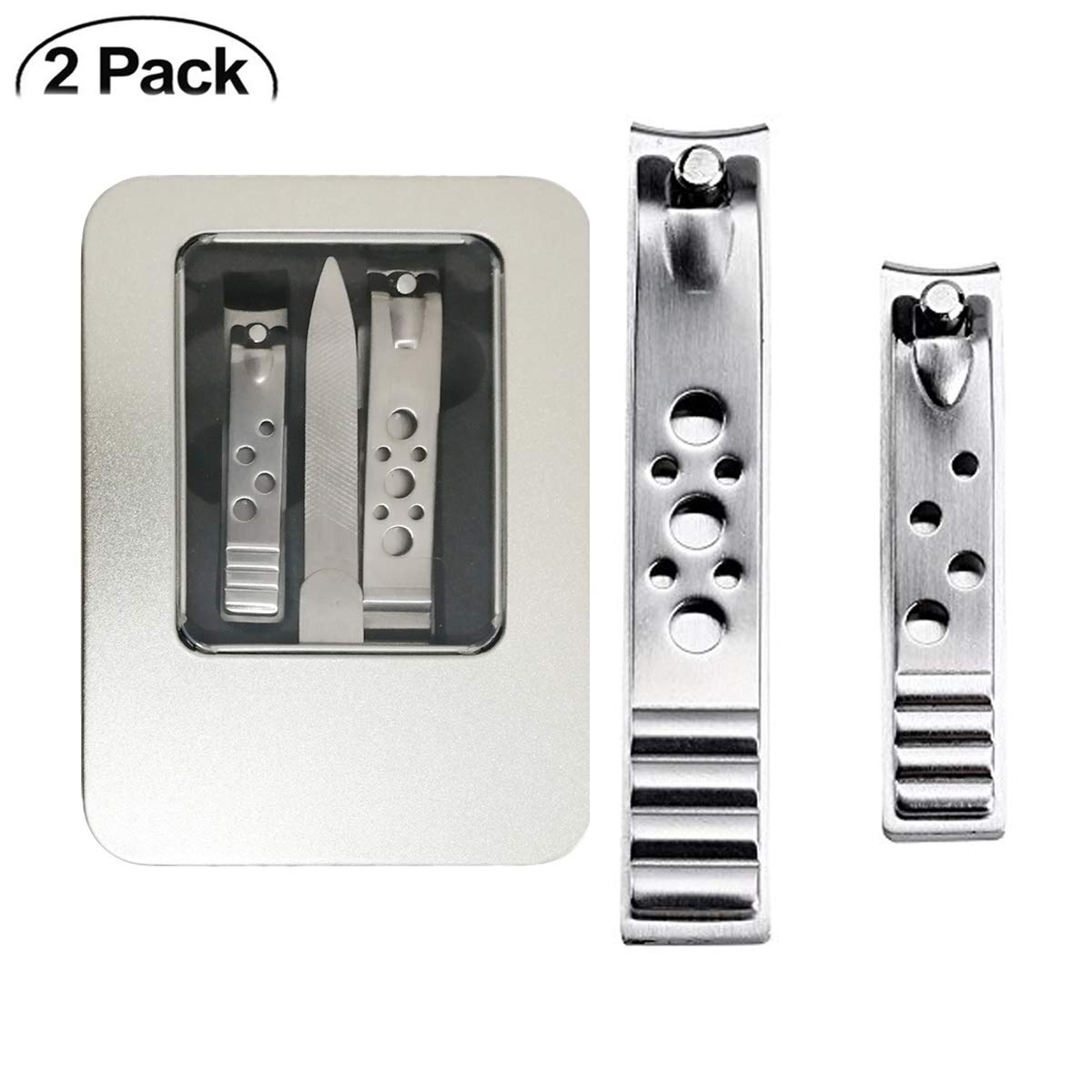 Nail Clippers Set Fingernail and Toenail Clipper Cutter,Stainless steel Heavy Duty Big Nail Clippers Cutters Set for Men & Women(2 pcs)