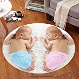 sophiehome Soft Carpet 280493963 Newborn twin babies, boy and girl, sleeping on a white blanket Anti-skid Carpet Round 34 inches