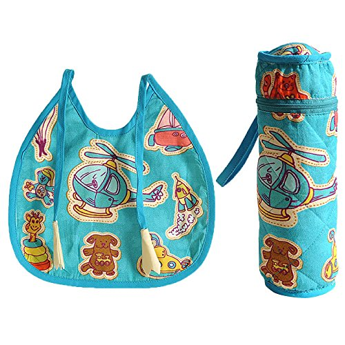 Digitally printed 300 TC Cotton Quilted Bib And Bottle Cover Set For Infant Kids (Halloween Costume 1012)