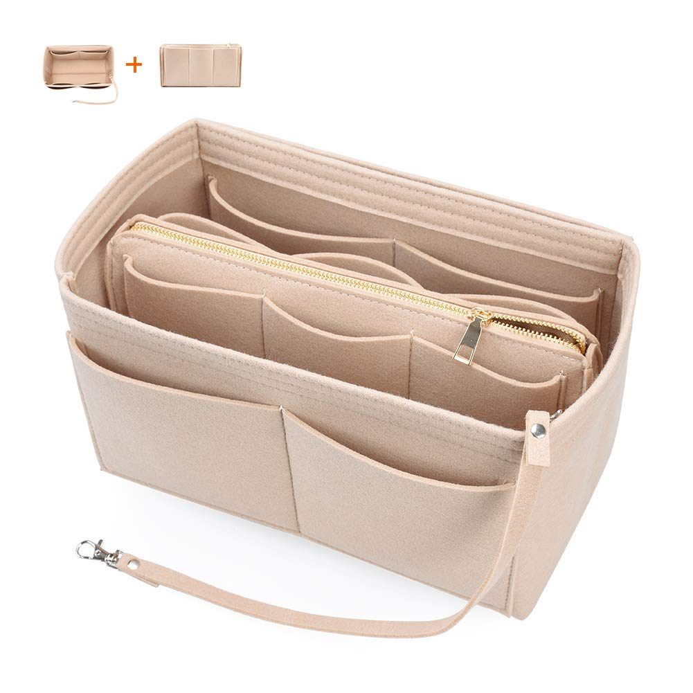 Felt Bag Organizer with Zipper Handbag Tote Purse LV Bag Insert Shaper 3 Sizes 6 Colors (Beige, Large)