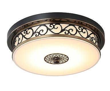 Deckenleuchte Rund Rustikal Landhaus Lampe Braun Deckenlampe Mit Led Metall  Flach Licht Schlafzimmer Wohnzimmer Retro Vintage