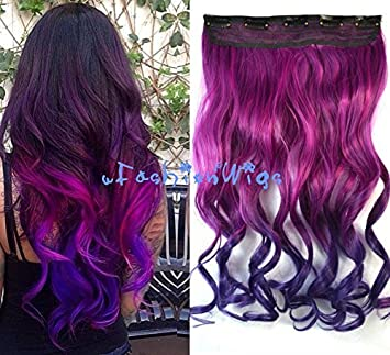 Rose Color to Dark Purple Two Color Ombre hair extension ...