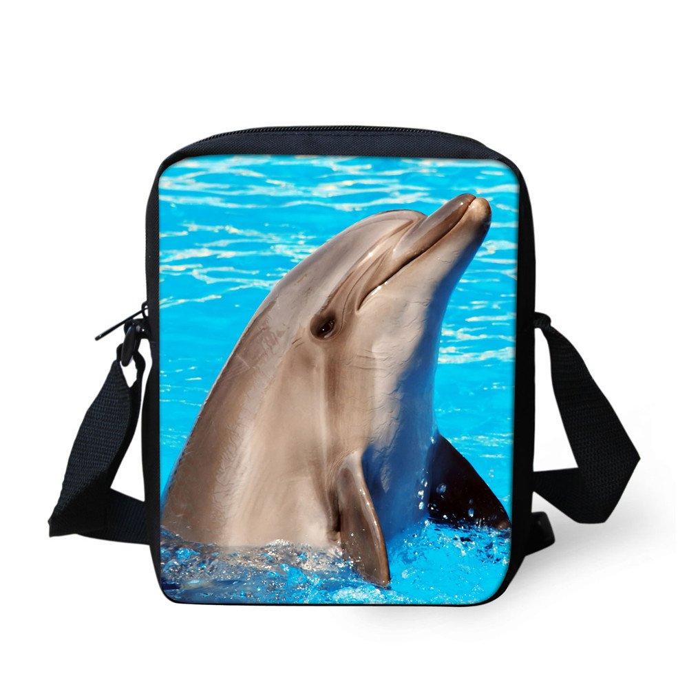 Messenger Bag Travel Aquarium Kids Crossbody Daypack Blue Fish Dolphin Print