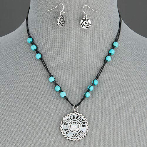 Black Rope Winchester 45 Shell Design Turquoise Beads Necklace With Earrings LL-6122 (Design Shell Beads Necklace)