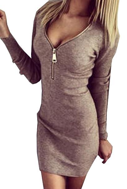 Vestiti Donna Eleganti da Cerimonia Corti Maniche Lunghe Abiti Zip  Elasticizzate Strette V Collo Invernali ( d54fcb1d6f8