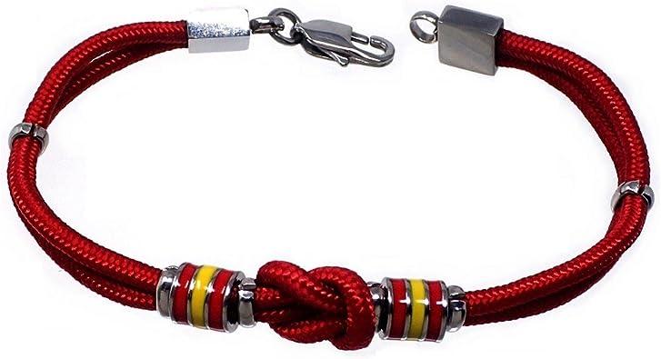 Pulsera acero 21cm. bandera España motivo nudo roja cordón [AB7217]: Amazon.es: Joyería