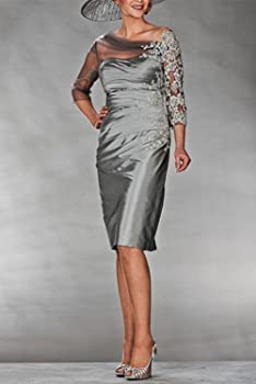 2014dc311d2 Newdeve Charcoal Grey Mother of The Bride Dresses Knee Length with Sleeves.  Newdeve Charcoal Grey Mother of The Bride Dresses Knee Length ...